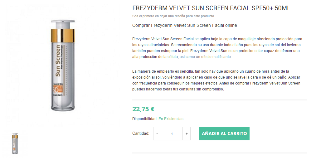 comprar-frezyderm-velvet-sun-screen